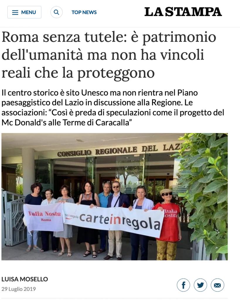 La stampa PTPR 29 luglio 2019