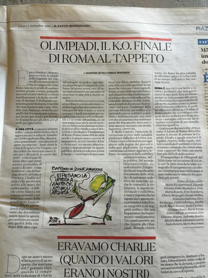 il-fatto-3-settembre-2016-appello-olimpiadi