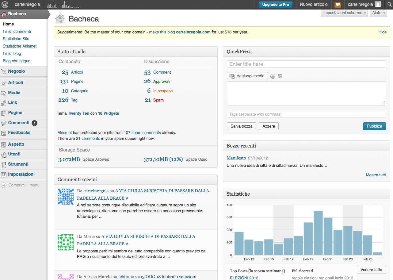 wordpress schermata iniziale