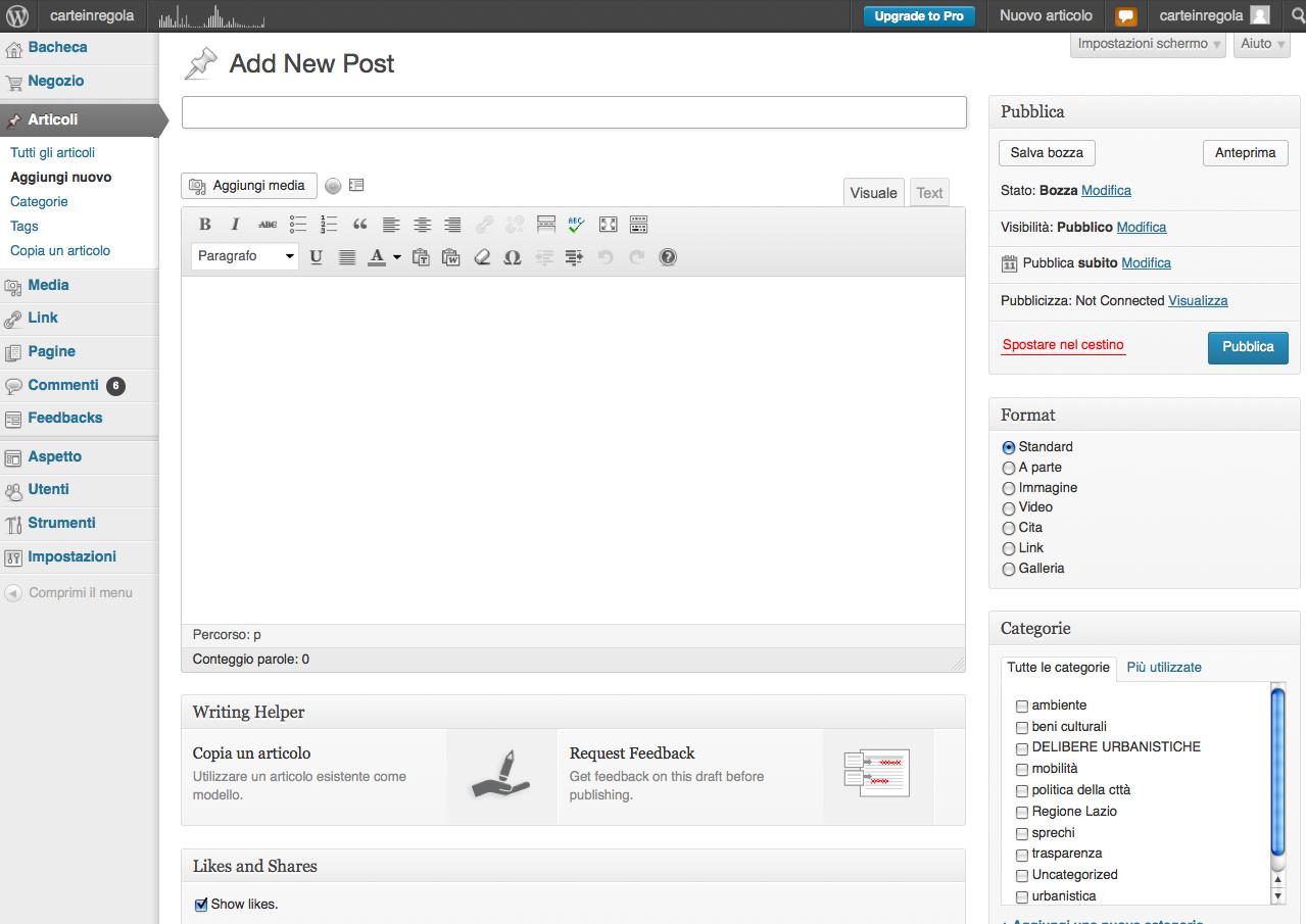 wordpress schermata nuovo articolo