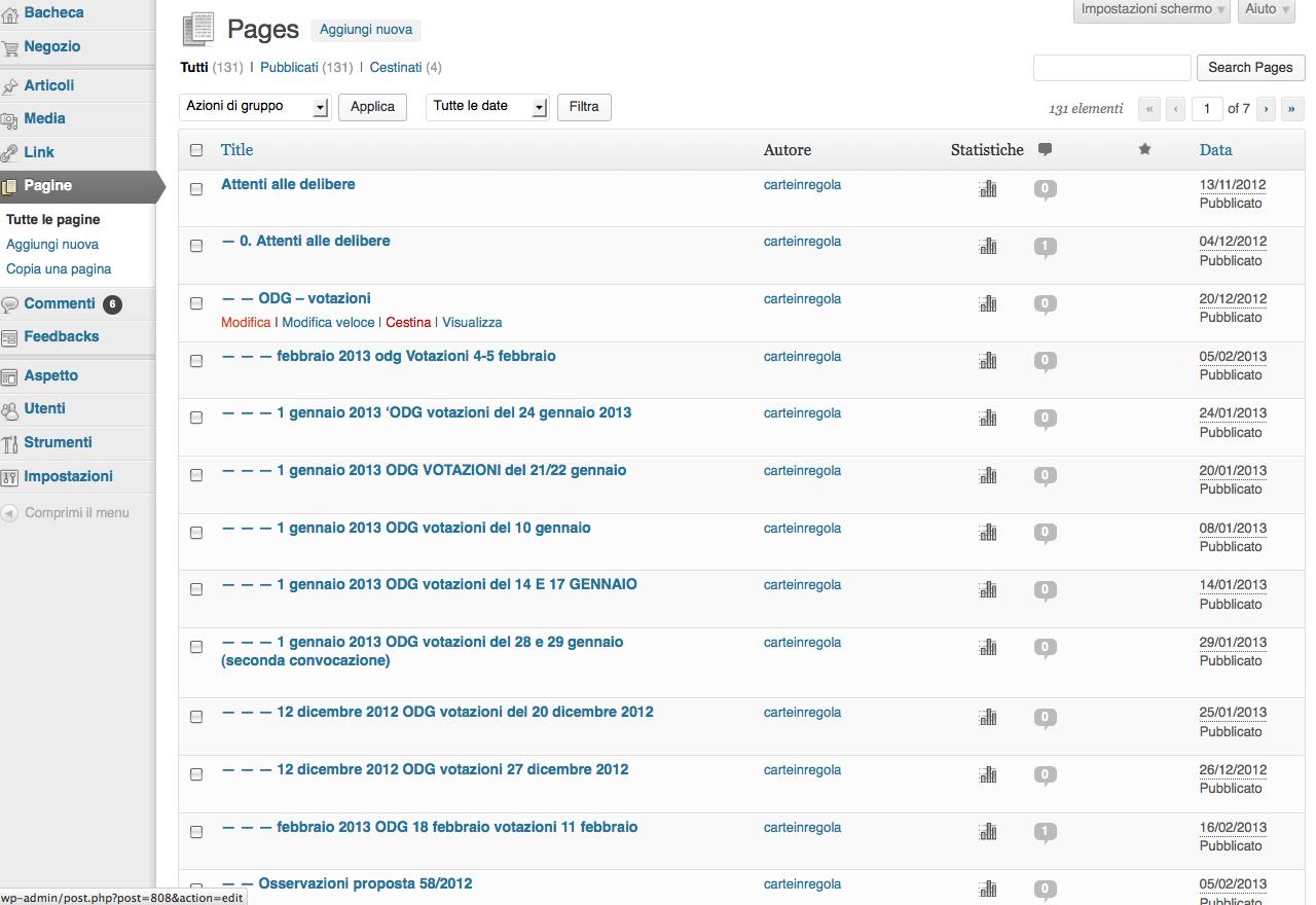 wordpress tutte el pagine modifica