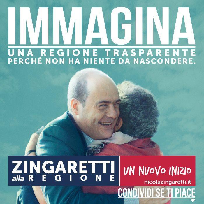 Un manifesto elettorale della campagna elettorale del Presidente Zingaretti