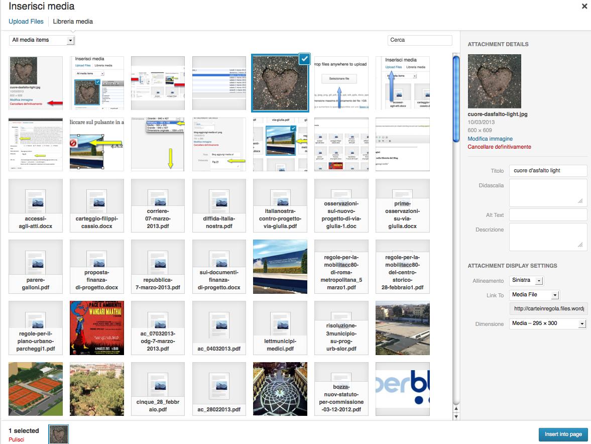 blog schermata libreria immagini