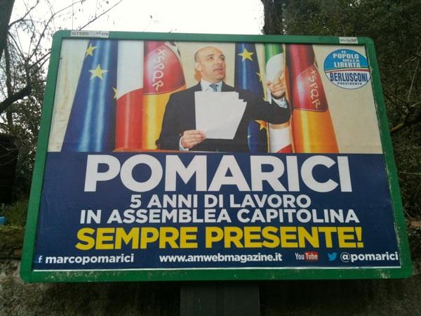 Un manifesto della campagna affisiioni apparsa in questi giorni nella Capitale