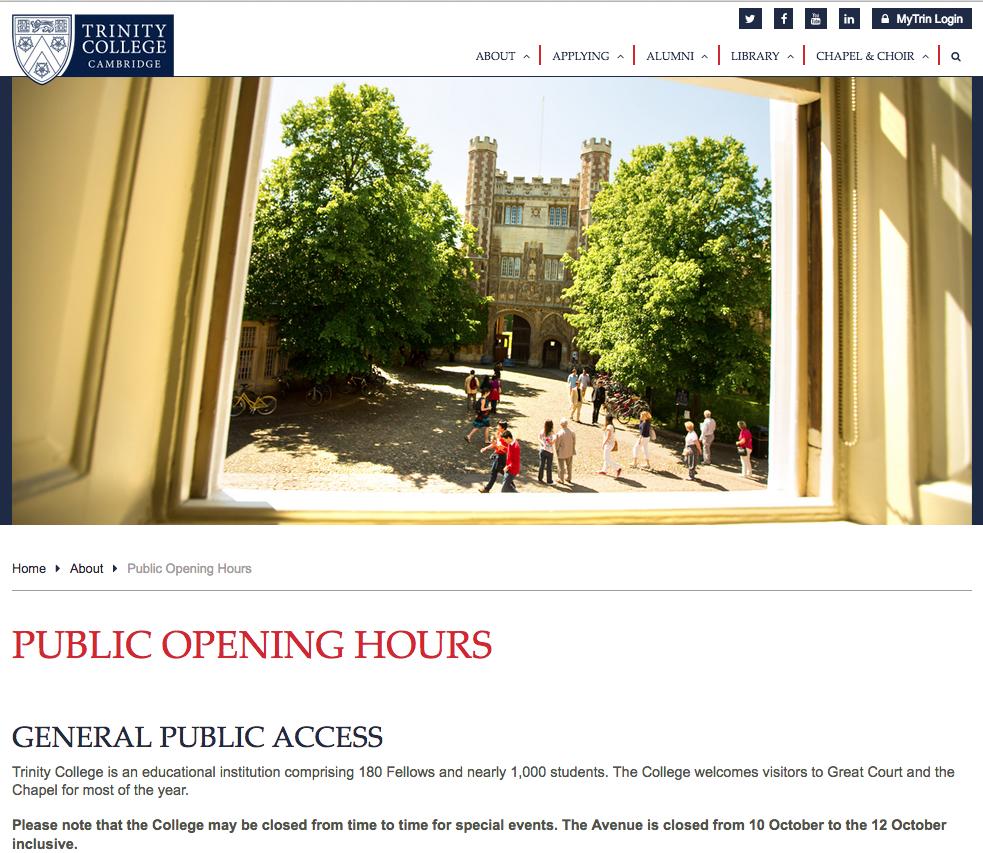 trinity college aperto al pubblico - sito