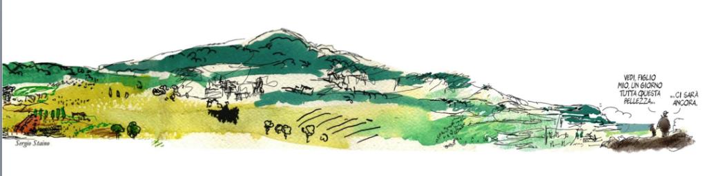 Disegno di Sergio Staino  asostegno della legge urabnistica della Toscana nel 2013