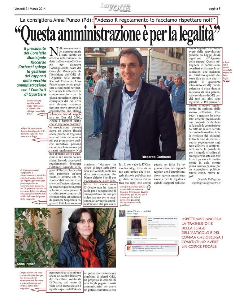 articolo di La Voce 21 marzo 2014 intervista a  Corbucci