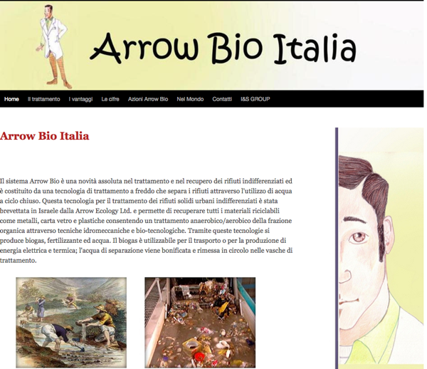 """La testata del sito di riferimento nel progetto  """"Arrow Bio"""""""