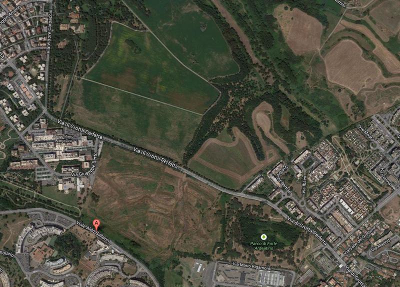 L'area tra Via di Grotta Perfetta e Via Ballarin, a fianco del Parco di Tor Marancia (il fosso Tre fontane si trova sul lato di Via Ballarin