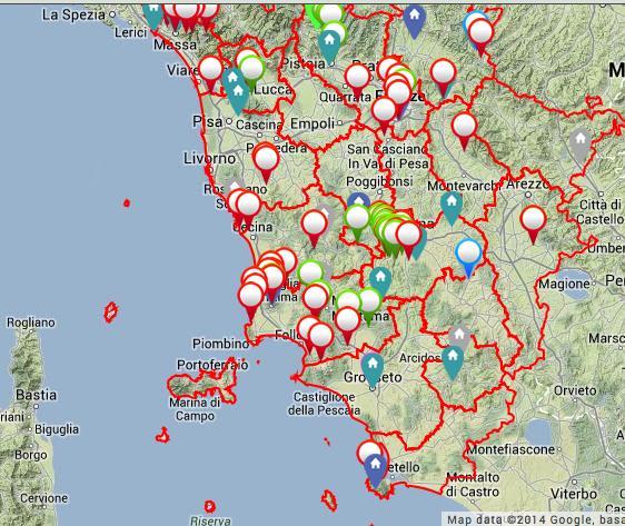 La mappa della Regione Toscana con il Piano Paesistico in costruzione