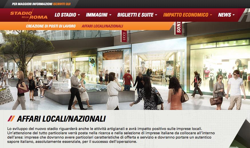 illustrazione del sito Lo stadio della Roma