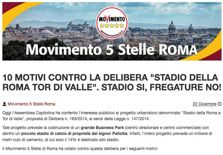 sito beppegrillo ragioni contro stadio della roma 22 dicembre 2014