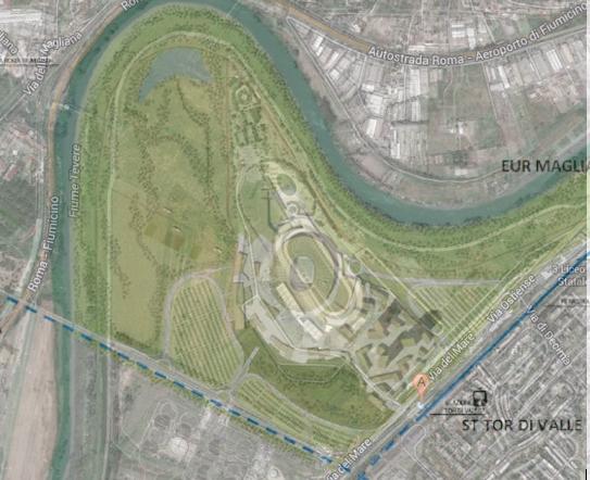 Una sovrapposizione (di Carteinregola) tra la mappa dell'area attuale con l'ippodromo di Tor di Valle e la mappa del progetto del nuovo stadio (dallo studio di fattibilità presentato a luglio 2014)