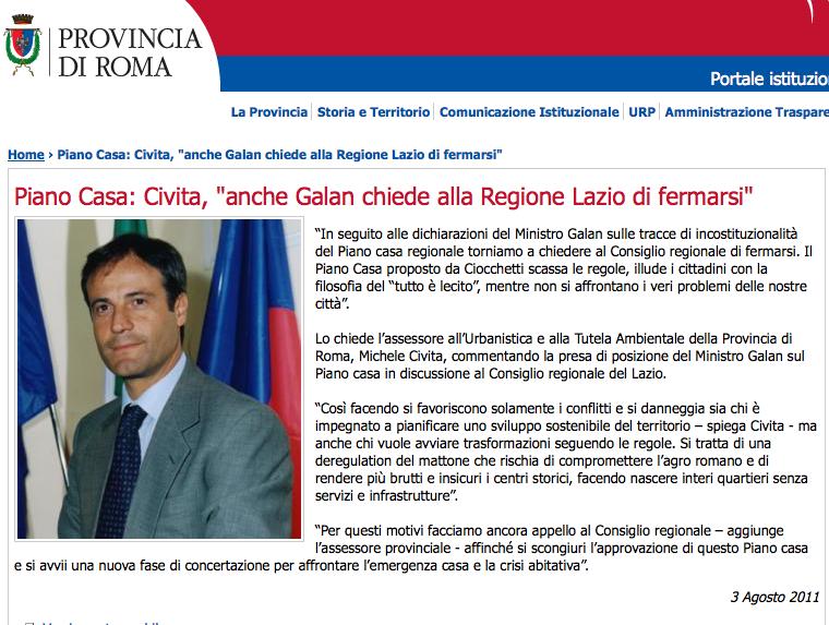 Civita sito provincia contro Piano casa