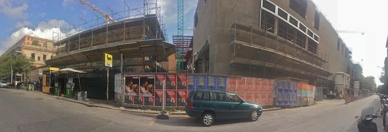 IL cantiere dle Mercato Appio, la cui zona commerciale potrebbe in parte essere trafsormata in appartamenti