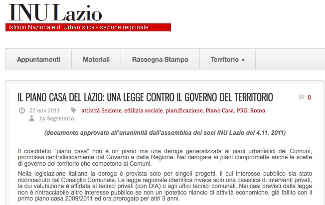 Pianocasa Legge Rigenerazione Urbana Lazio