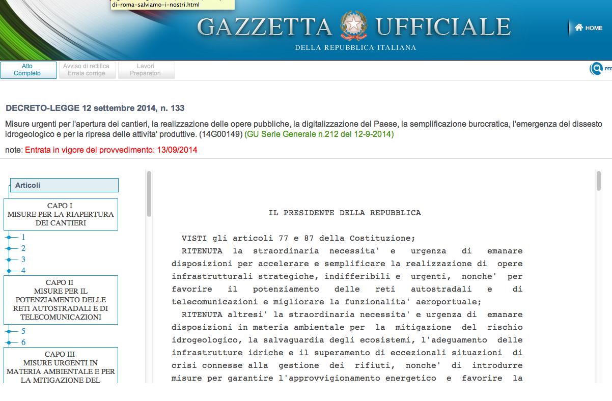 TESTO GAZZETTA SBLOCCA ITALIA 12 SETTEMBRE 2014