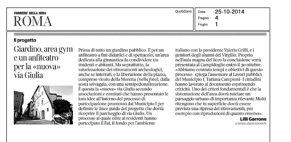 Corsera via Giulia 26 ottobre 2014