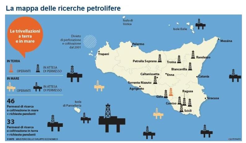 mappa ricerche petrolifere da greenreport