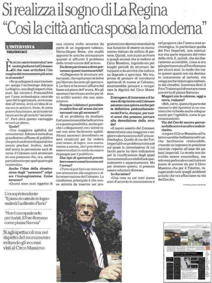 repubblica 31:12:2014 Serloni Colosseo, intervista La regina