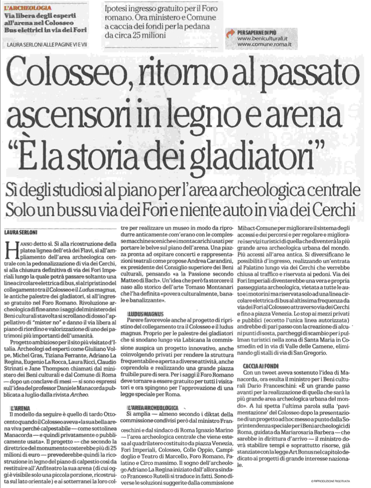 repubblica 31:12:2014 Serloni Colosseo, ritorno al passato