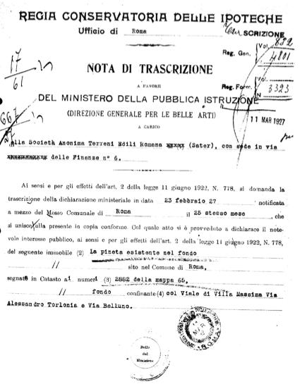 vincolo Villa Massimo