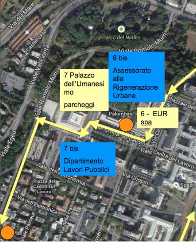 mappa percorso eur 3