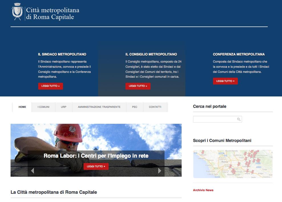 Il sito attivo dal 1 gennaio 2015 di cittàmetropolitana di Roma Capitale