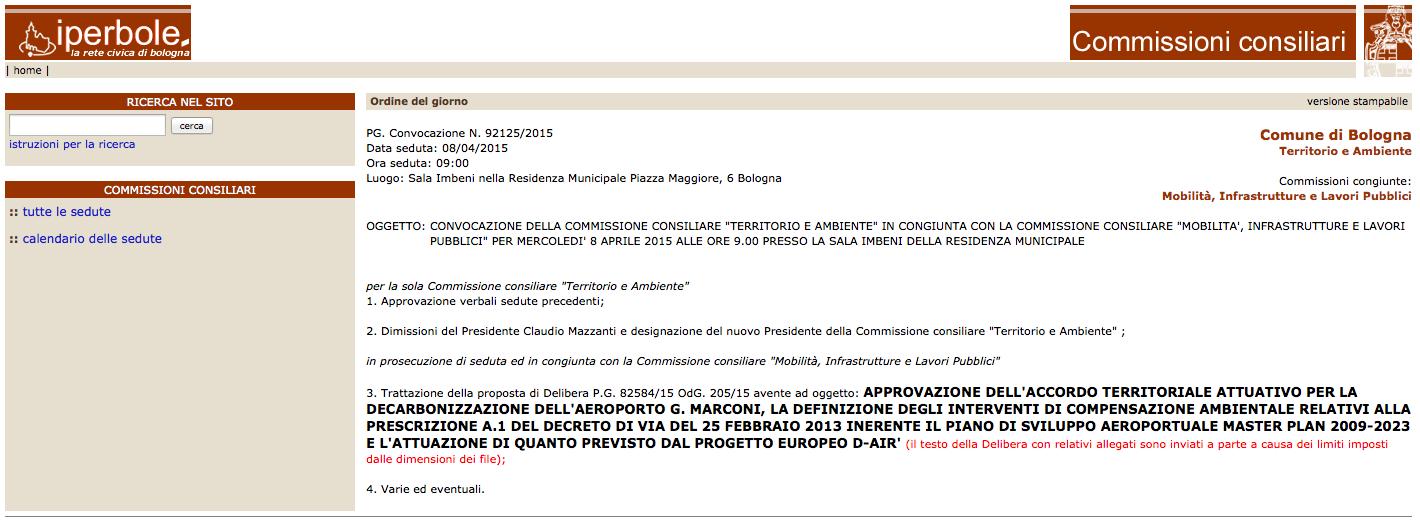 Bologna convocazione delle commissioni