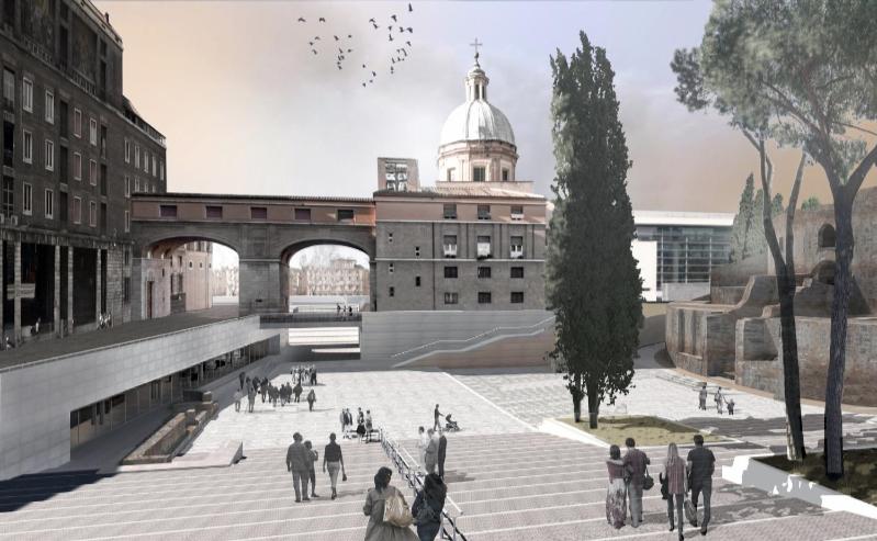 rendering del progetto per Piazza Augusto imperatore