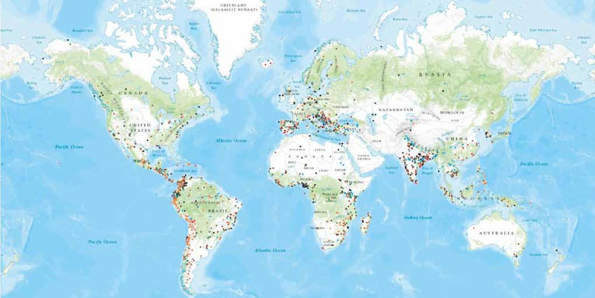 Atlante che rappresenta i conflitti ambientali in corso in tutto il mondo