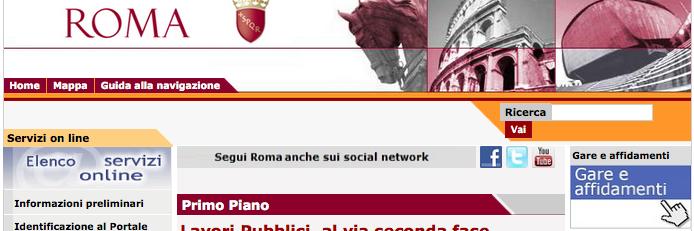 pulsante gare e affidamenti comune di Roma