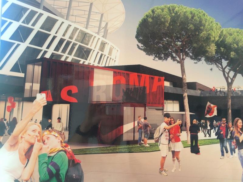 """Tavola in mostra alla Casa della Città: il rendering propone l'immagine di """"selfie"""" davanti sllr nuove avveniristiche strutture"""