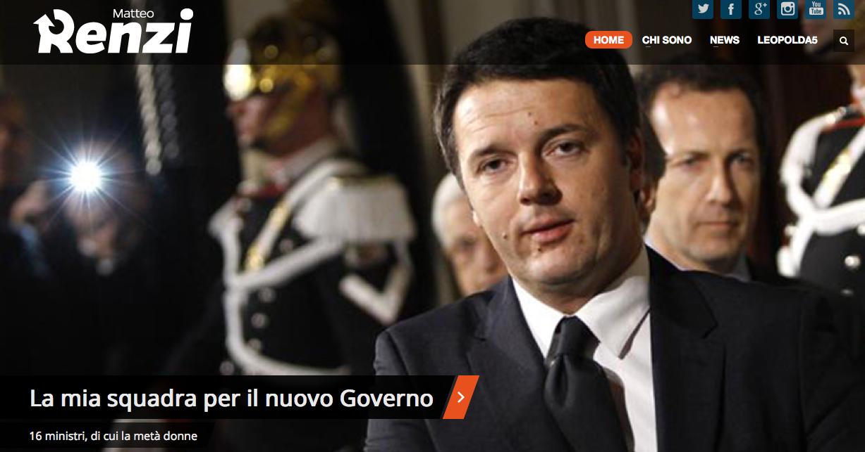 Immagine della testata del sito del Presidente Renzi