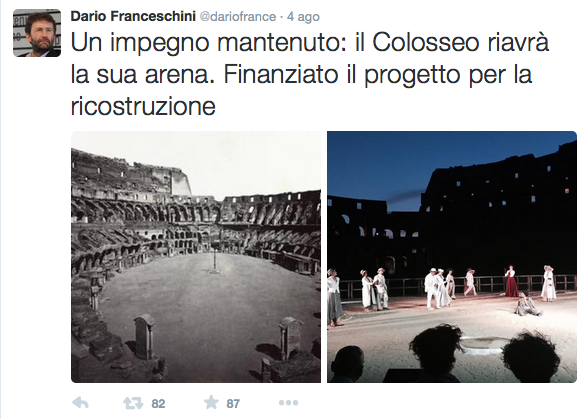 Tweet Franceschini colosseo agosto 2015