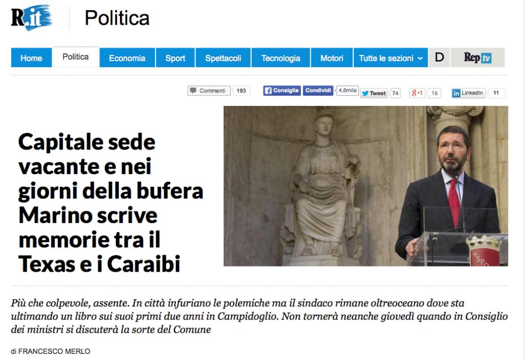 Il sito di Repubblica che ripropone l'articolo pubblicato sull'edizione cartacea