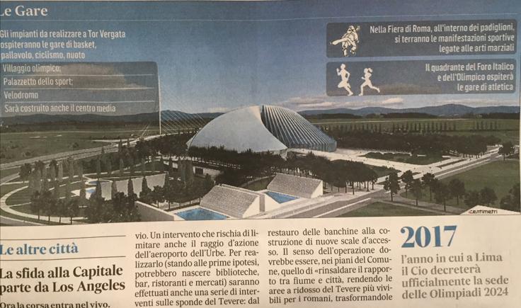 Il rendering del progetto di Tor Vergata pubblicato da Il Messaggero del 12 settembre 2015