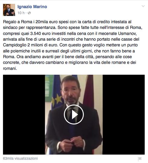 Il video sulla pagina Fb del Sindaco
