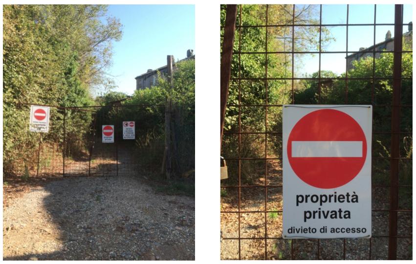 L'accesso stradale interdetto dal lato di via di Bravetta