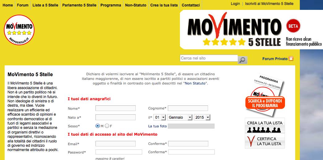 il sito di M5S Roma, pagina per iscrizione