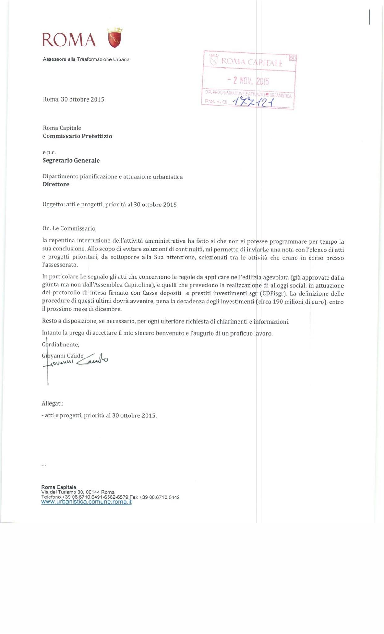 lettera di Caudo a Tronca