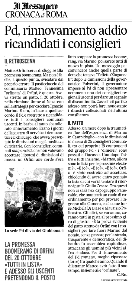MESSAGGERO dichiarazioni Orfini a nostra iniziativa 2 dicembre 2015