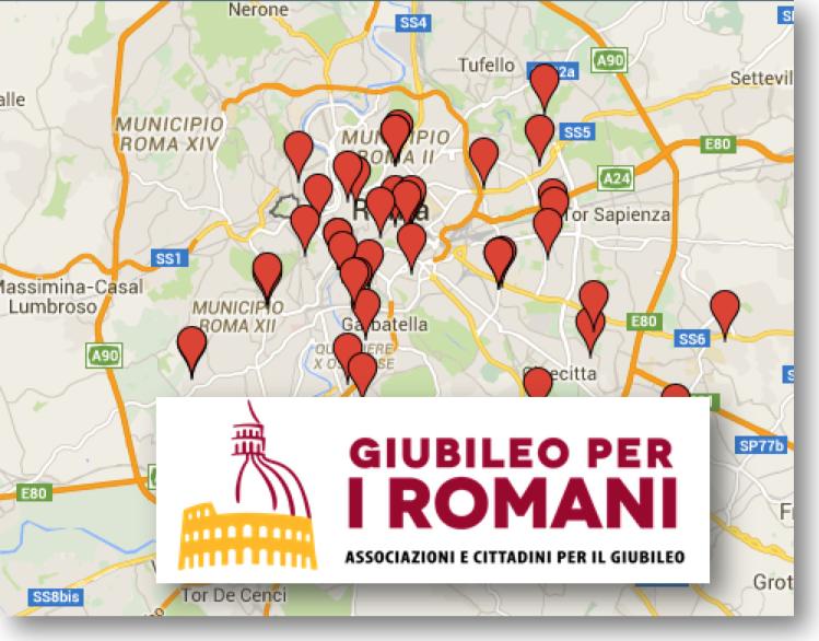immagine mappa e logo giubileo dei romani