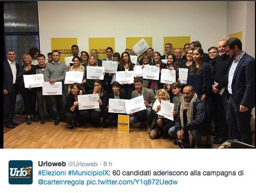 I candidati delle liste a sostegno di Andrea Santoro, candidato alal Presidenza del IX Municipio che hanno dichiarato l'intenzione di aderire in massa alla Carta del candidato