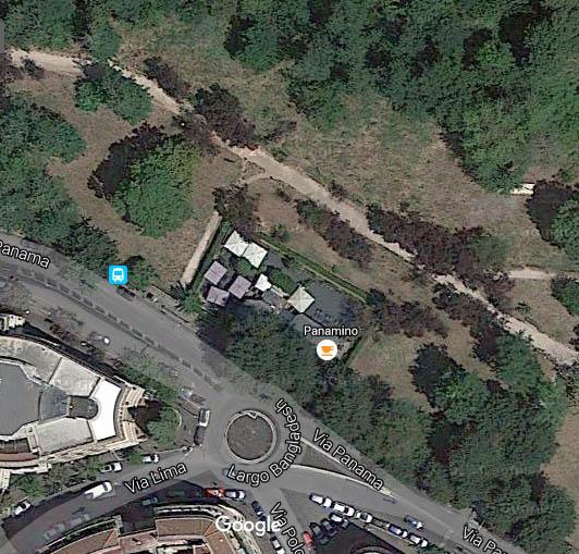 Mappa del Parco Rabin ai margini di Villa Ada in Via Panama