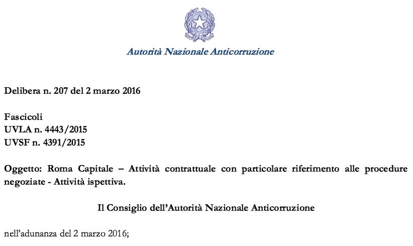 intestazione relazione ANAC marzo 2016