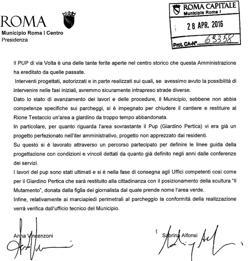 risposta Alfonsi Vincenzoni pup via volta