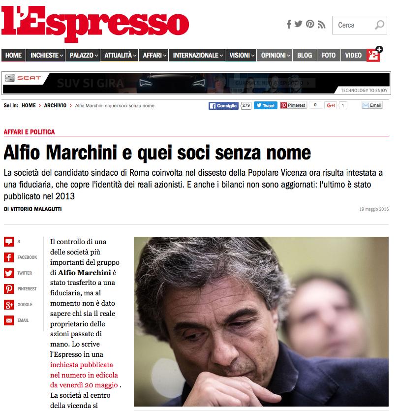 articolo sito L'espresso 20 maggio 2016 marchini