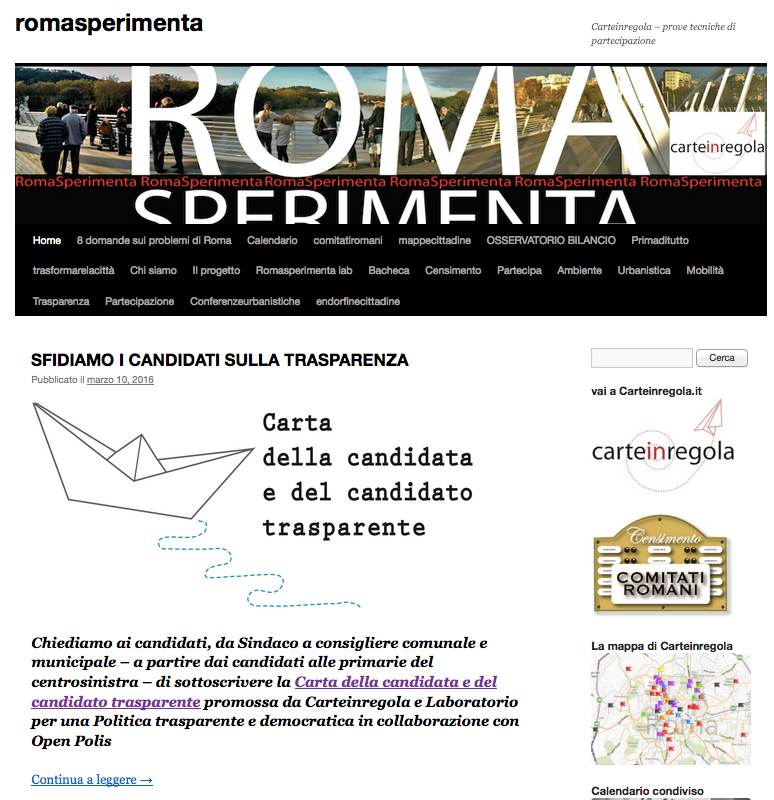 schermata sito romasperimenta