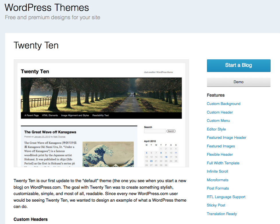 wordpress tema twenty ten